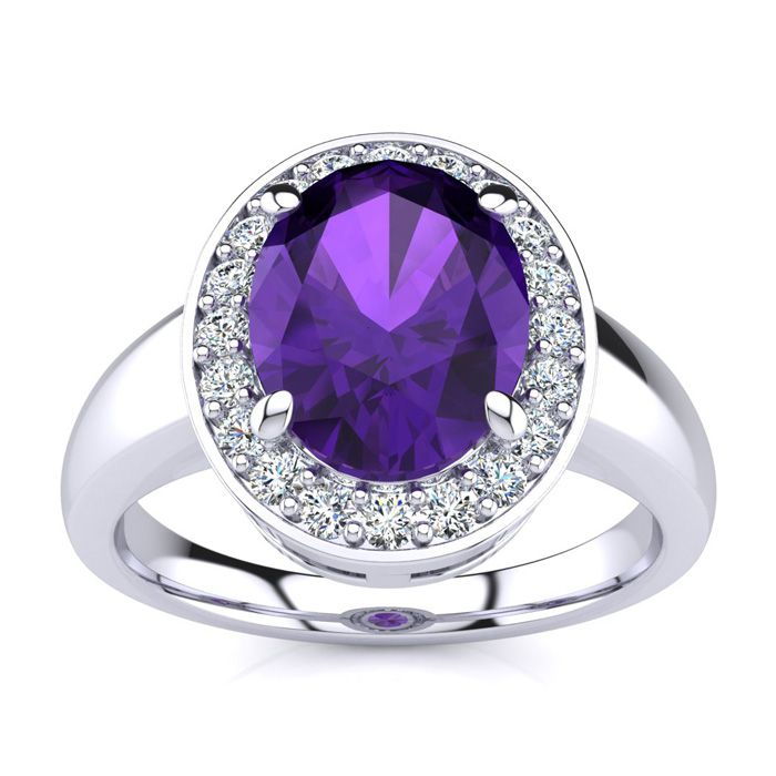 1 3/4 Carat Oval Shape Amethyst and Halo Diamond Ring In 14 Karat White Gold