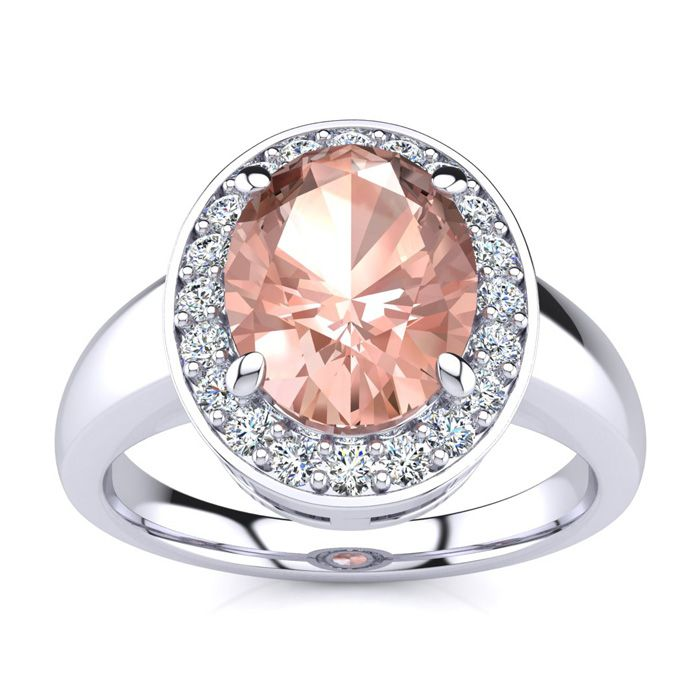 2 Carat Oval Shape Morganite and Halo Diamond Ring In 14 Karat White Gold