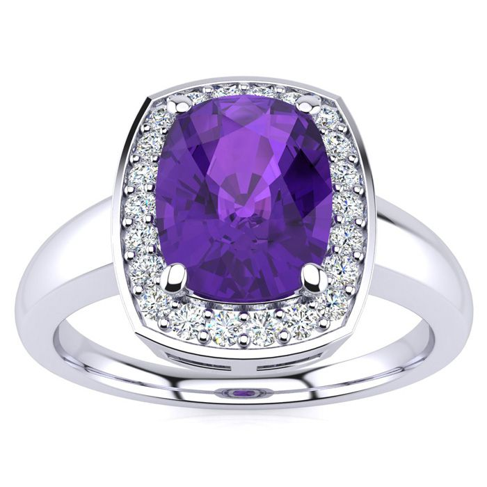 2 Carat Cushion Cut Amethyst and Halo Diamond Ring In 14 Karat White Gold