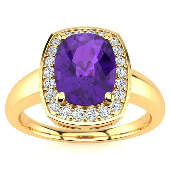 2 Carat Cushion Cut Amethyst and Halo Diamond Ring In 14 Karat Yellow Gold