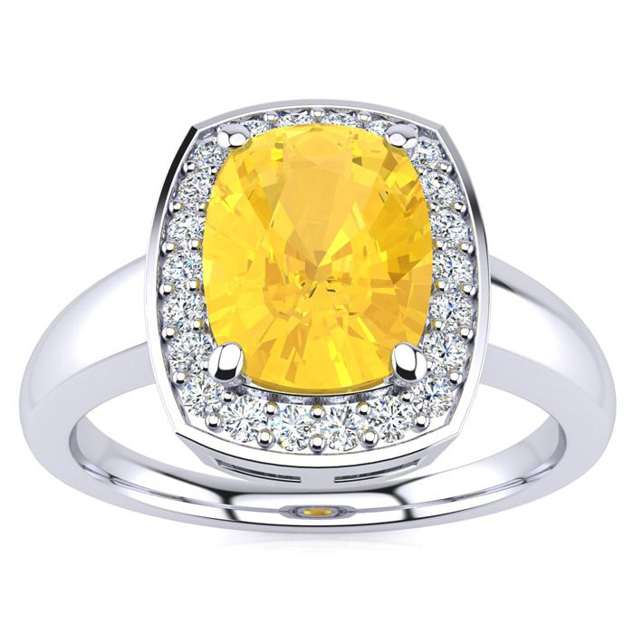 2 Carat Cushion Cut Citrine and Halo Diamond Ring In 14 Karat White Gold