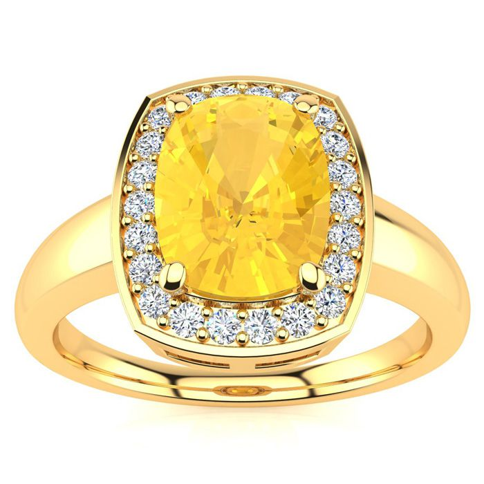 2 Carat Cushion Cut Citrine and Halo Diamond Ring In 14 Karat Yellow Gold