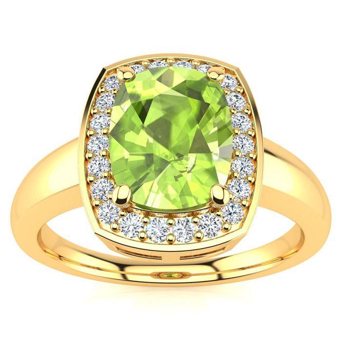 2 2/3 Carat Cushion Cut Peridot and Halo Diamond Ring In 14 Karat Yellow Gold