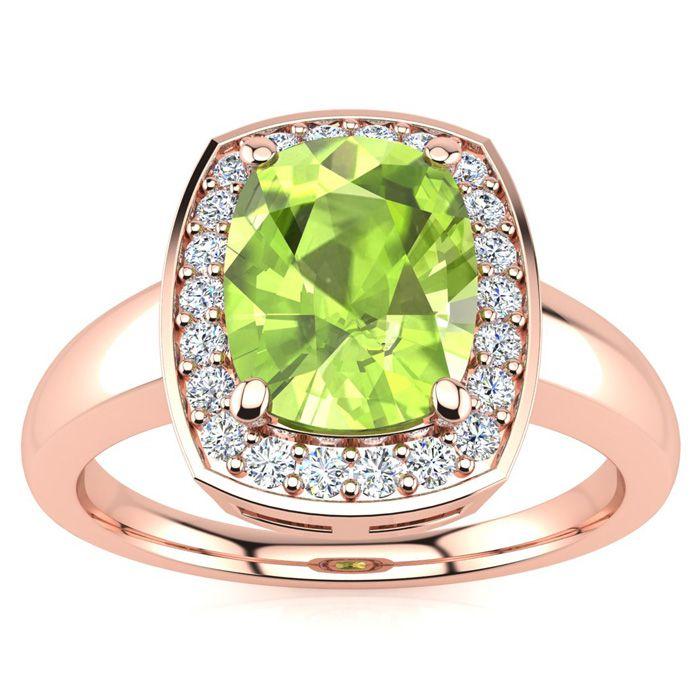 2 2/3 Carat Cushion Cut Peridot and Halo Diamond Ring In 14 Karat Rose Gold