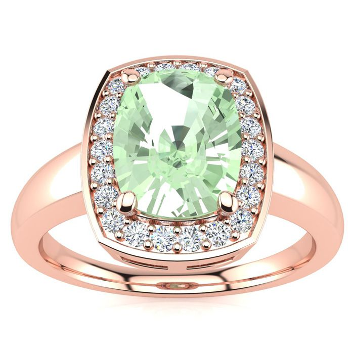 2 Carat Cushion Cut Green Amethyst and Halo Diamond Ring In 14 Karat Rose Gold