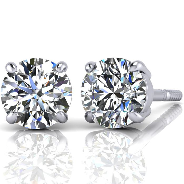 4.02 Carat Round Diamond Stud Earrings in PLATINUM,  by SuperJeweler