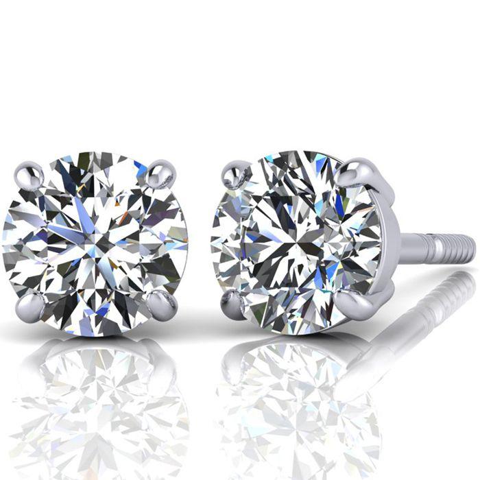 4.02 Carat Round Diamond Stud Earrings in PLATINUM,  by SuperJeweler