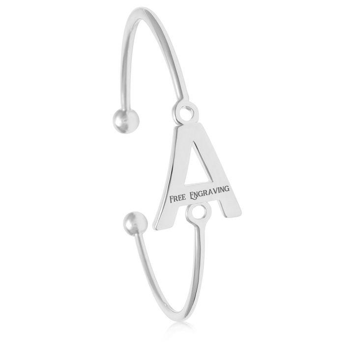 """A"" Initial Bangle Bracelet In Silver Tone"