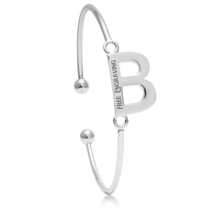 """B"" Initial Bangle Bracelet In Silver Tone"