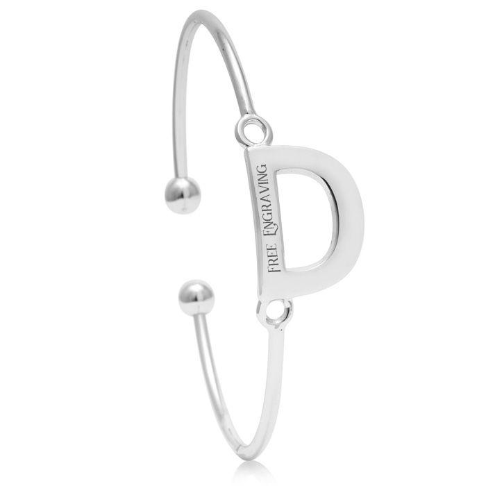 """D"" Initial Bangle Bracelet In Silver Tone"