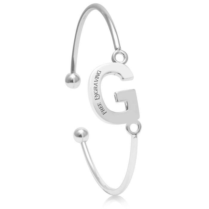 """G"" Initial Bangle Bracelet In Silver Tone"