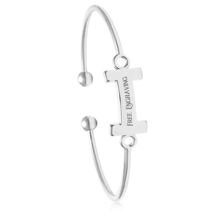 """I"" Initial Bangle Bracelet In Silver Tone"