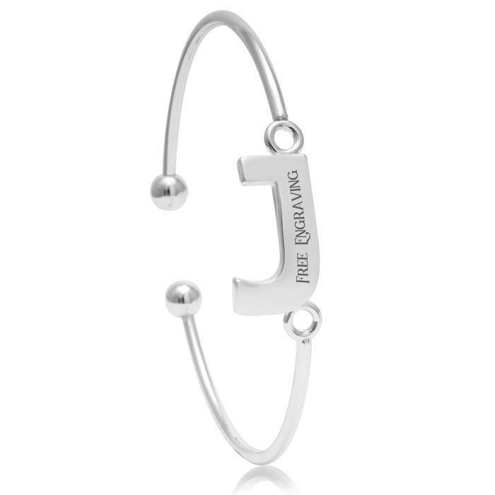 """""""J"""" Initial Bangle Bracelet In Silver Tone"""