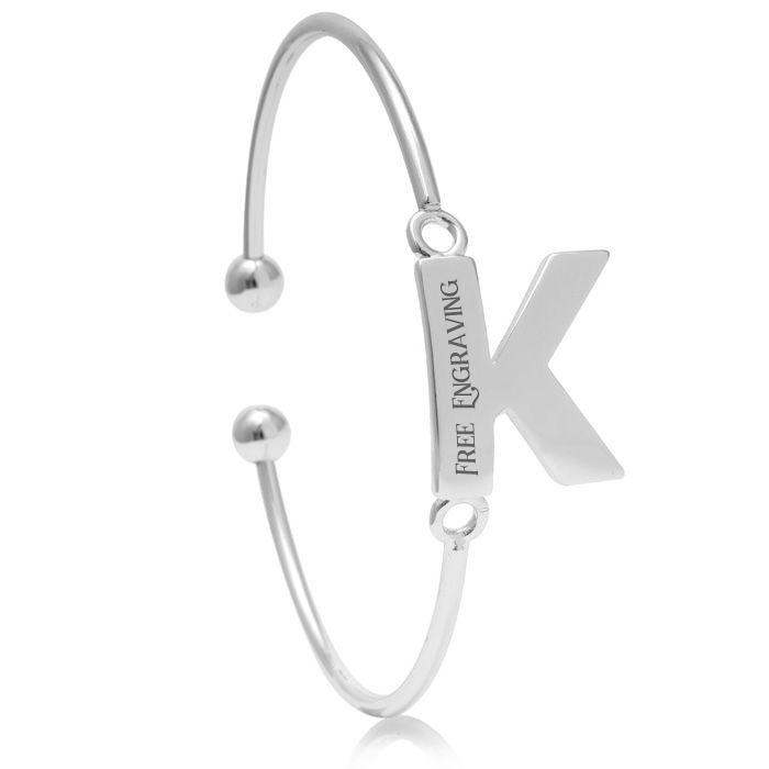 """""""K"""" Initial Bangle Bracelet In Silver Tone"""