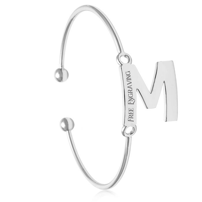 """M"" Initial Bangle Bracelet In Silver Tone"