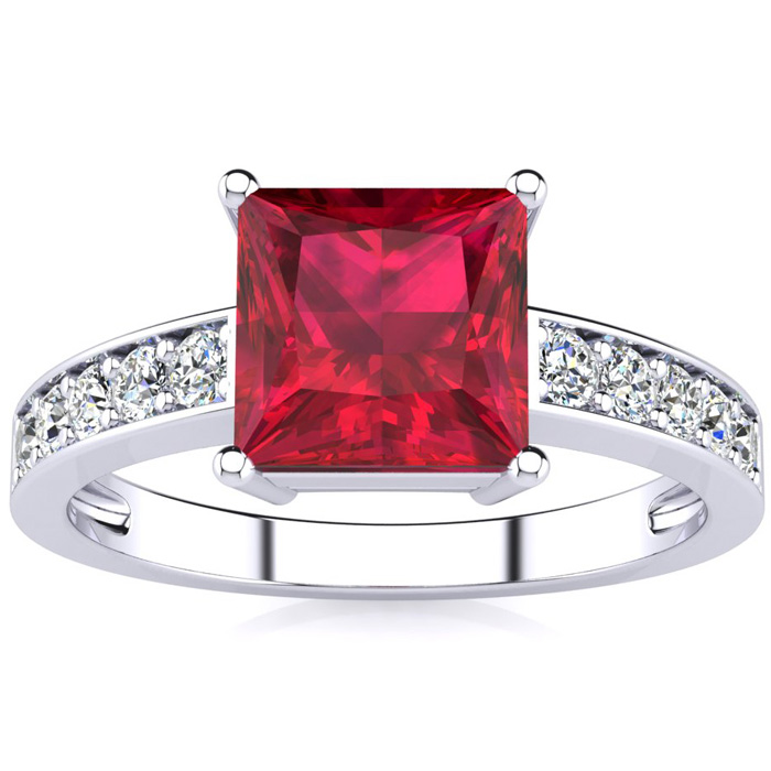 Square Step Cut 1 7/8ct Ruby and Diamond Ring in 14K White Gold