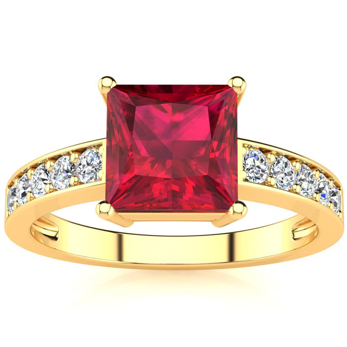 Square Step Cut 1 7/8ct Ruby and Diamond Ring in 14K Yellow Gold