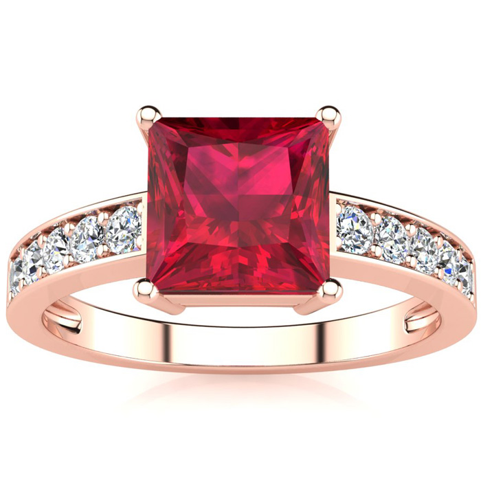 Square Step Cut 1 7/8ct Ruby and Diamond Ring in 14K Rose Gold