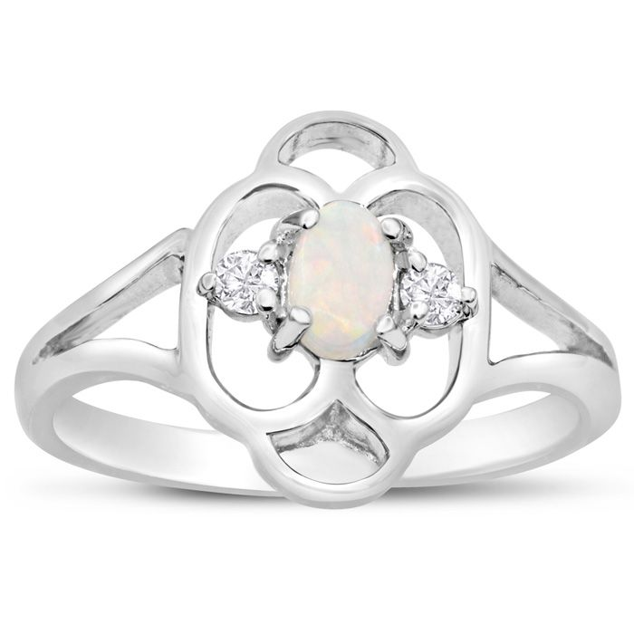 Vintage 1/4 Carat Opal & 2 Diamond Ring in 14K White Gold (2.80 g), I-J, Size 4 by SuperJeweler