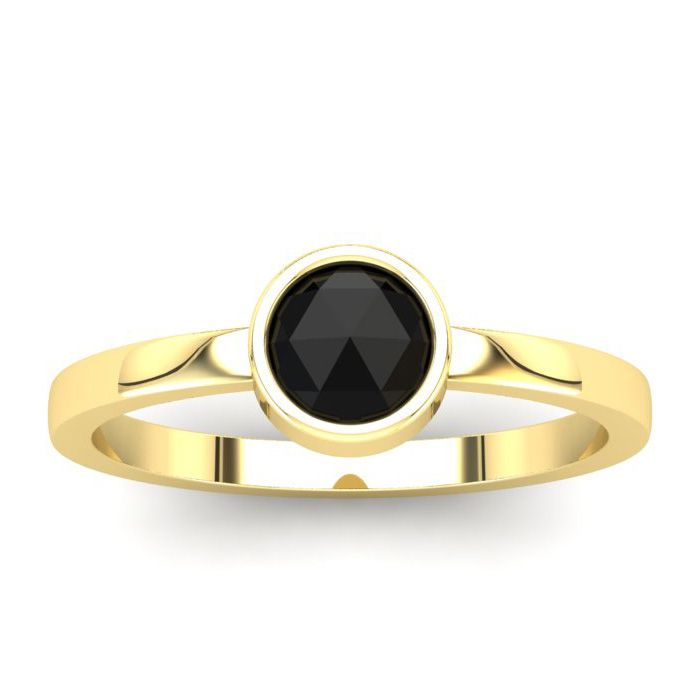 1/2 Carat Rose Cut Black Diamond Solitaire Engagement Ring in 14K Yellow Gol..