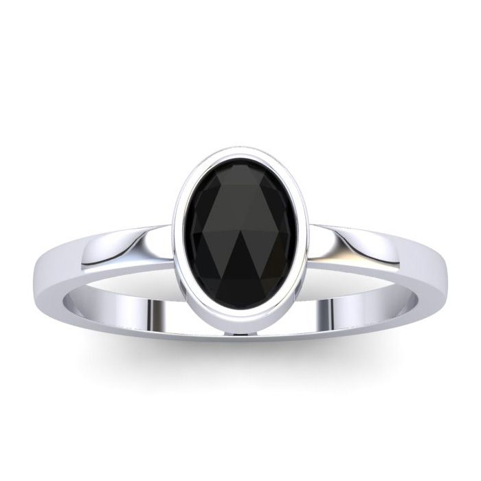 1 Carat Rose Cut Oval Black Diamond