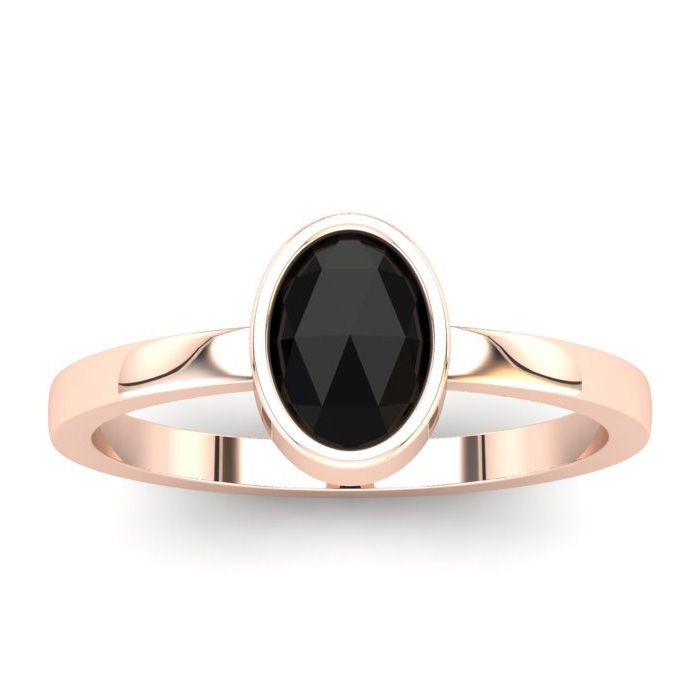1 Carat Rose Cut Oval Black Diamond Solitaire Engagement Ring in 14K Rose Go..