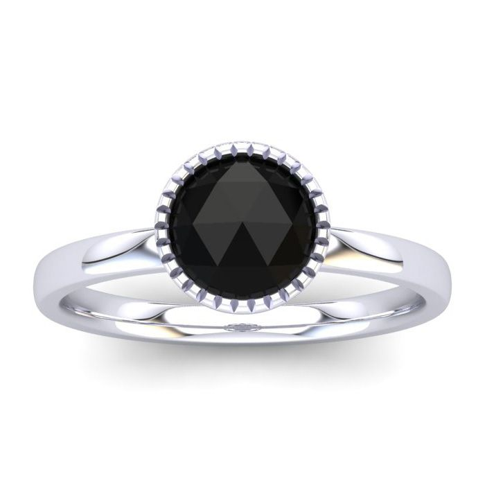 1/2 Carat Rose Cut Black Diamond Solitaire Engagement Ring in 14K White Gold..