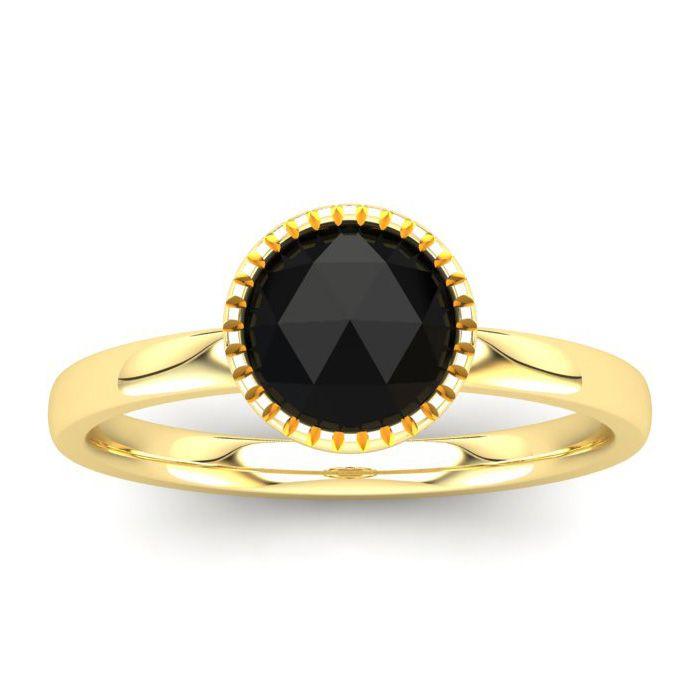 1 Carat Rose Cut Black Diamond Solitaire