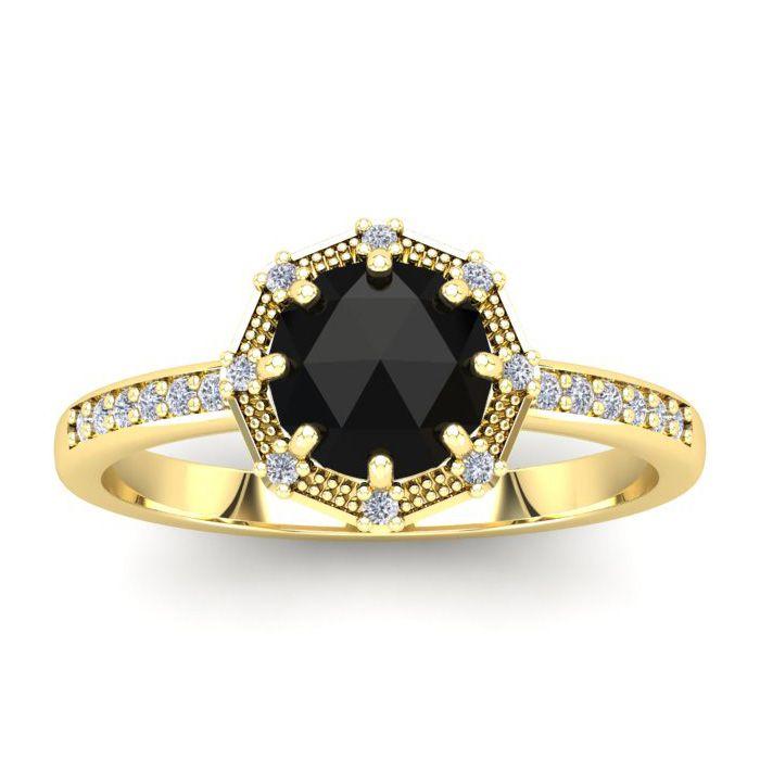 1 Carat Rose Cut Black & White Diamond Halo Ring in 14K Yellow Gold (2.85 g)..