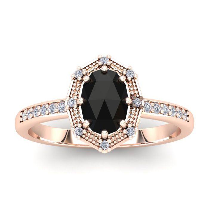 1 Carat Rose Cut Oval Black & White Diamond Halo Ring in 14K Rose Gold (2.82..