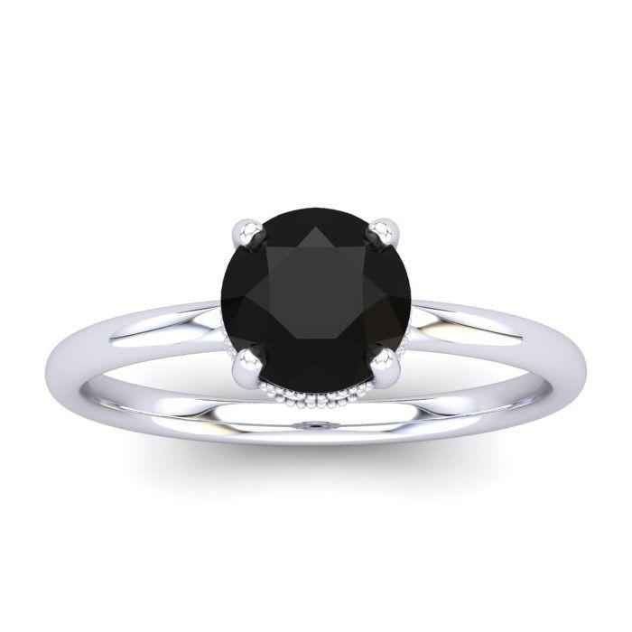 1 Carat Rose Cut Black & White 9 Diamond Ring in 14K White Gold (3.21 g), Si..