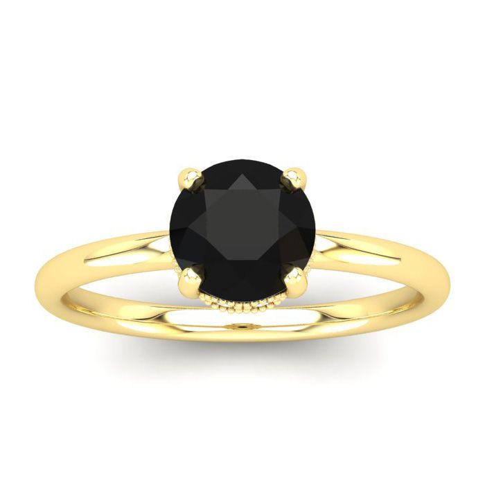 1 Carat Rose Cut Black & White 9 Diamond Ring in 14K Yellow Gold (3.21 g), S..
