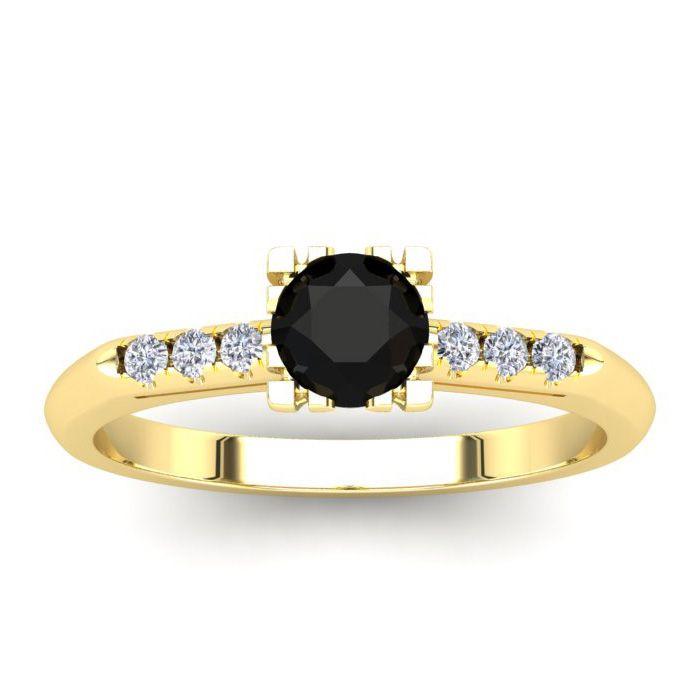 1/2 Carat Rose Cut Black & White 7 Diamond Ring in 14K Yellow Gold (2.80 g),..