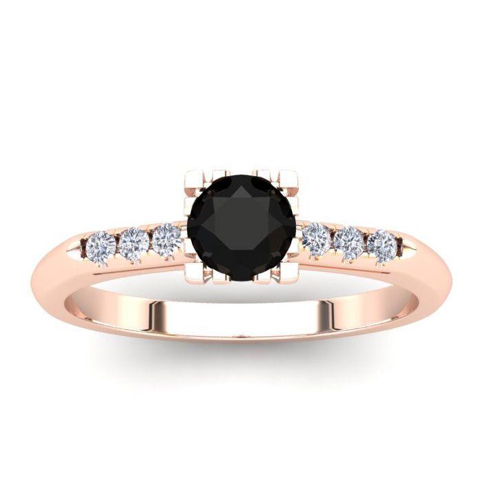 1/2 Carat Rose Cut Black & White 7 Diamond Ring in 14K Rose Gold (2.80 g), S..