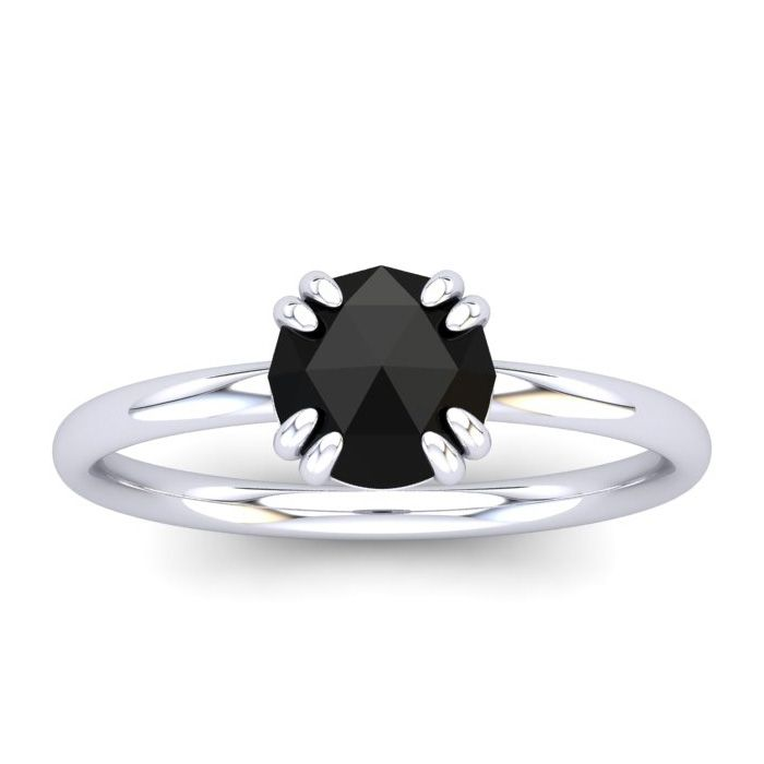 1 Carat Rose Cut Black Diamond Solitaire Engagement Ring in 14K White Gold (..