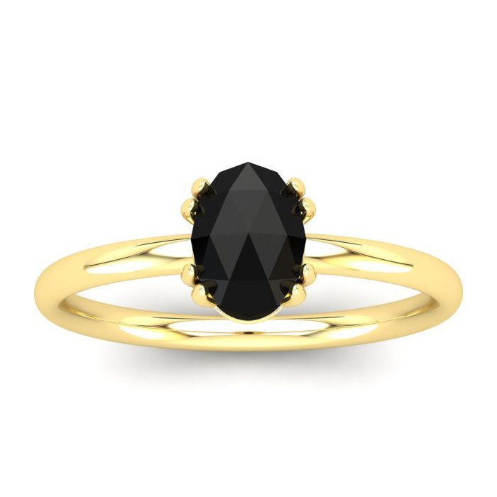 1 Carat Rose Cut Oval Black Diamond Solitaire Engagement Ring in 14K Yellow ..