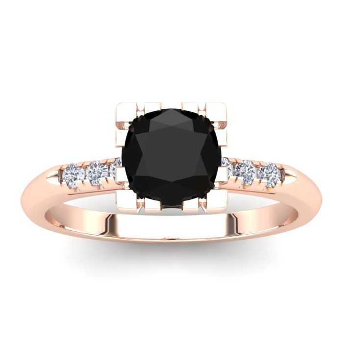 1 Carat Rose Cut Cushion Cut Black & White 7 Diamond Ring in 14K Rose Gold (..