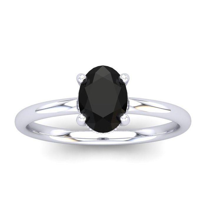 1 Carat Rose Cut Oval Shape Black & White 9 Diamond Ring in 14K White Gold (..