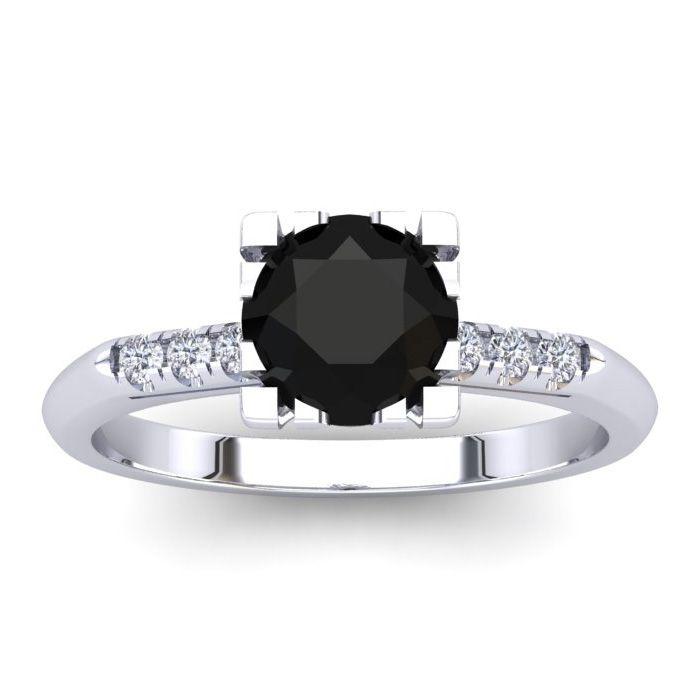 1 Carat Rose Cut Black & White 7 Diamond Ring in 14K White Gold (3.40 g), Si..
