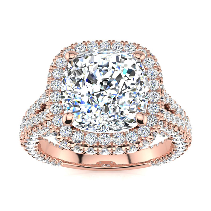 Image of 6 Carat Cushion Cut Halo Diamond Engagement Ring In 14K Rose Gold