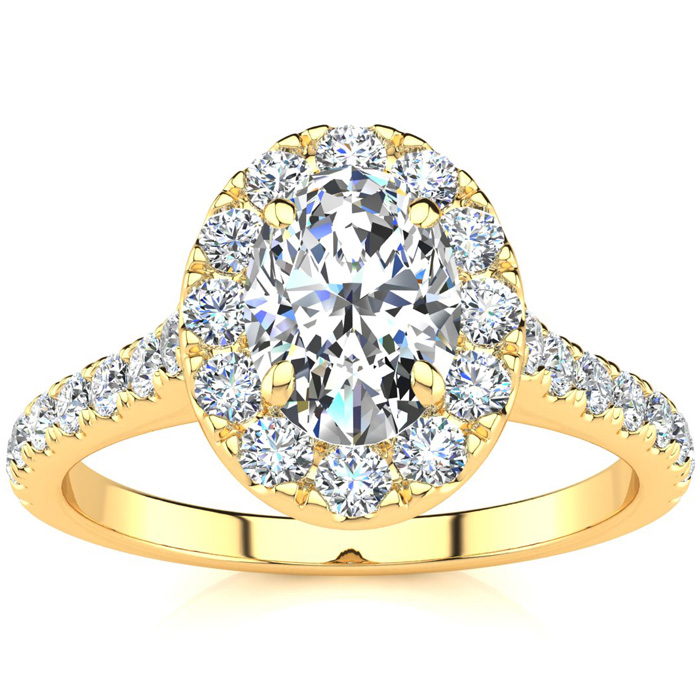1.5 Carat Oval Shape Halo Diamond Engagement Ring in 14k Yellow Gold (4.50 g) (