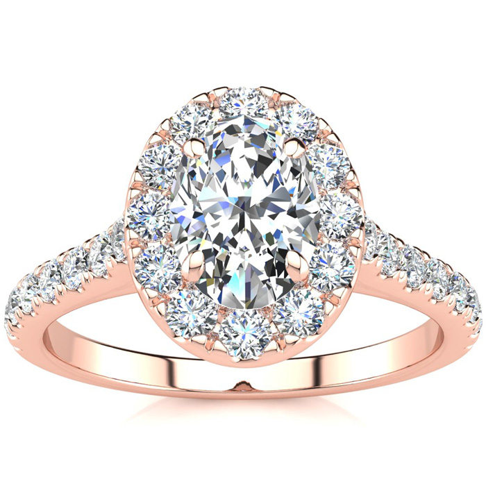 1.5 Carat Oval Shape Halo Diamond Engagement Ring in 14k Rose Gold (4.50 g) (