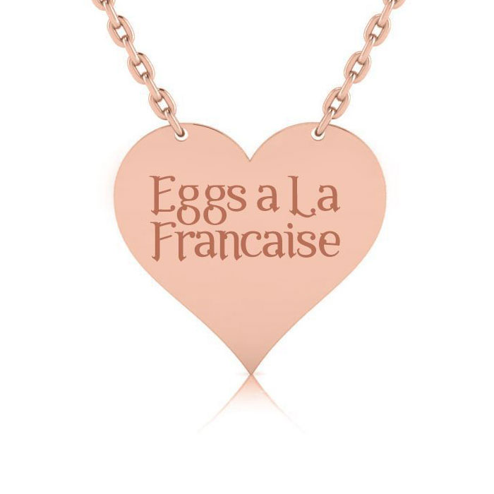 14K Rose Gold Over Sterling Silver Heart Necklace With Countess Luann Signature Statement Engraved, 18 Inches
