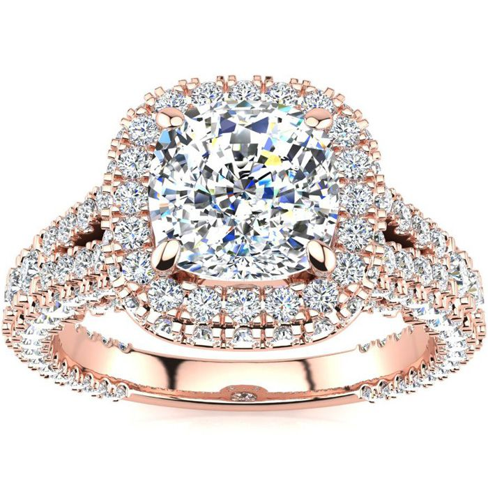 3 1/2 Carat Cushion Cut Halo Diamond Engagement Ring In 14K Rose Gold