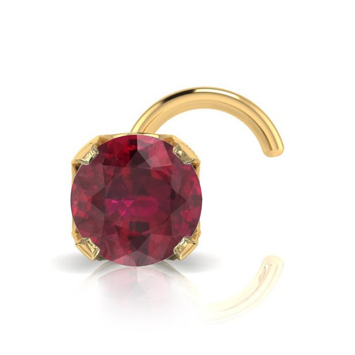 0.015ct 1.5mm Ruby Nose Ring In 14K