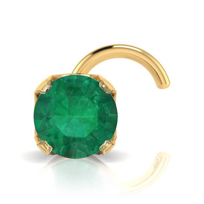 0.03ct 2mm Emerald Nose Ring In 14K