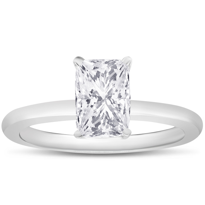 1 Carat Radiant Cut Diamond Solitaire Ring in 14K White Gold (3 g) (, I1), Size 10 by SuperJeweler