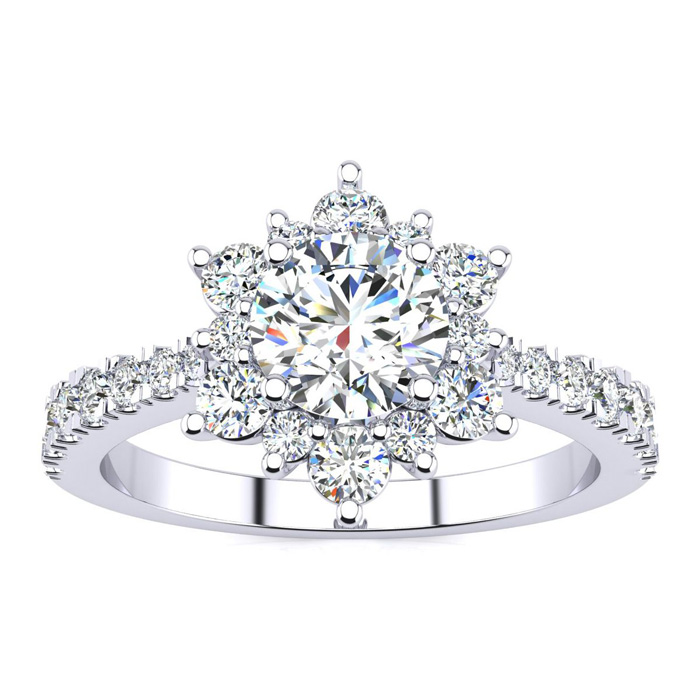 2 Carat Round Shape Halo Diamond Engagement Ring in 14K White Gold (4 g), I-J, Size 4 by SuperJeweler