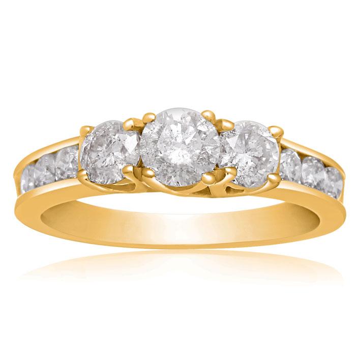 1 Carat Engagement Three Diamond Ring In Yellow Gold