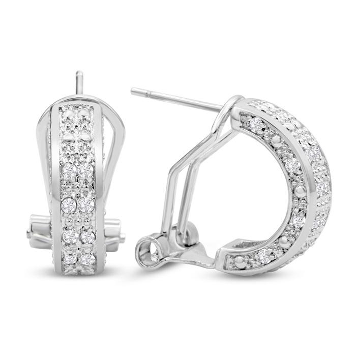 1/2 Carat Diamond Omega Hoop Earrings, 1/2 Inch